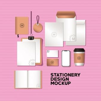 Смартфон и фирменный макет фирменного стиля и темы дизайна канцелярских товаров