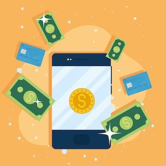 スマートフォンとドルのお金のアイコン