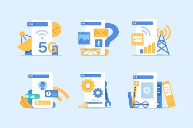 Смартфон и электронная почта, новое сообщение на экране смартфона, чип-карта esim
