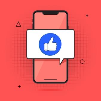 スマートフォンと指を上に向け、フラットな漫画携帯電話承認メッセージ