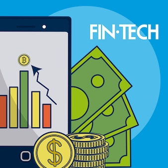 スマートフォンとお金の金融技術ベクトル図のグラフィックデザイン