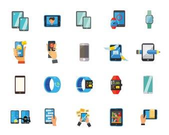 スマートフォンと時計アイコンセット