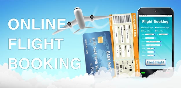 Smartphone app online flight booking and airplane
