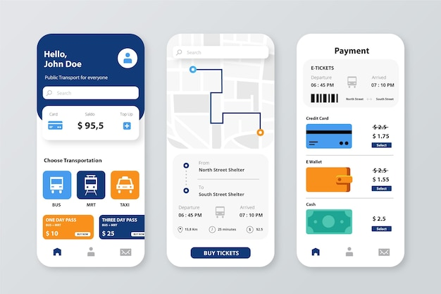 Smartphone app for public transport template