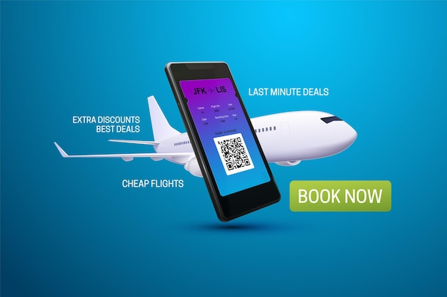 Smartphone application for buying flight tickets advertising banner