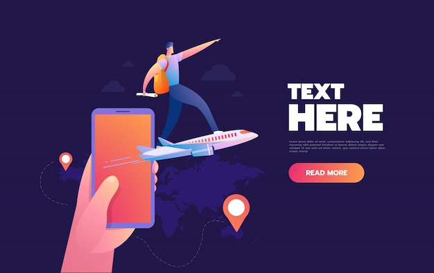 Smartphone application for buying flight tickets. vector 3d illustration of phone and airplene. online travel agency concept.