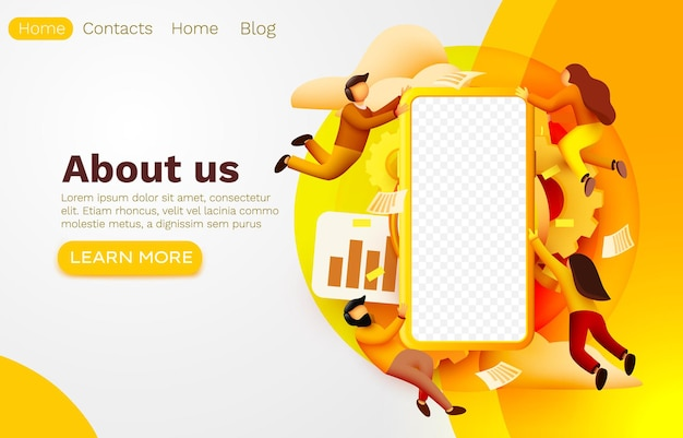 Smartphone application and fly people, mobile web banner