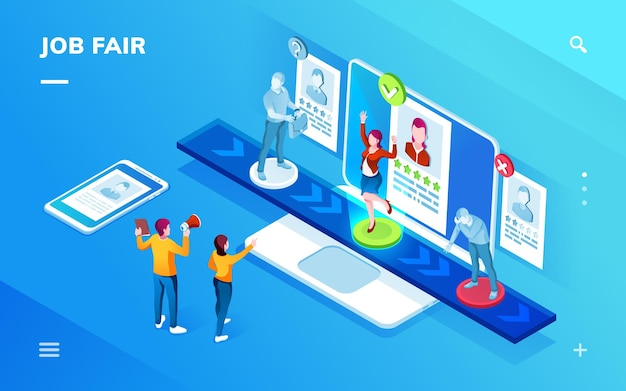 Smartphone application isometric screen for job recruit or career expo recruiting interview or