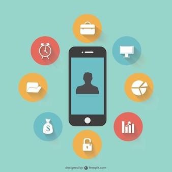 Vector piatto template smartphone