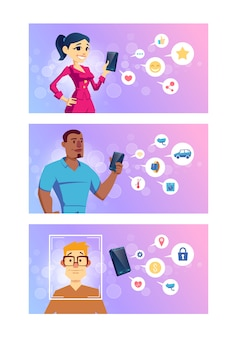 Приложения для смартфонов для социальных сетей, интеллектуальные технологии, онлайн-банкинг и мультипликация навигации