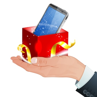 Smartphone as gift or present on hand