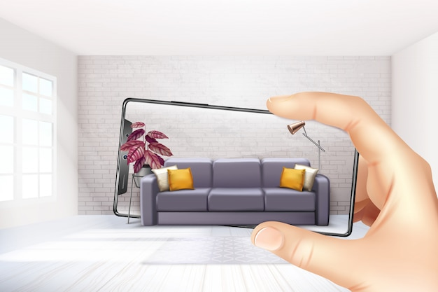 Smartphone augmented virtual reality interior application apps choosing sofa experience for touch screen realistic composition