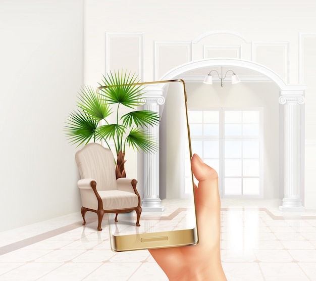 Smartphone augmented virtual reality touch screen interior application helps placing plants and furniture realistic composition