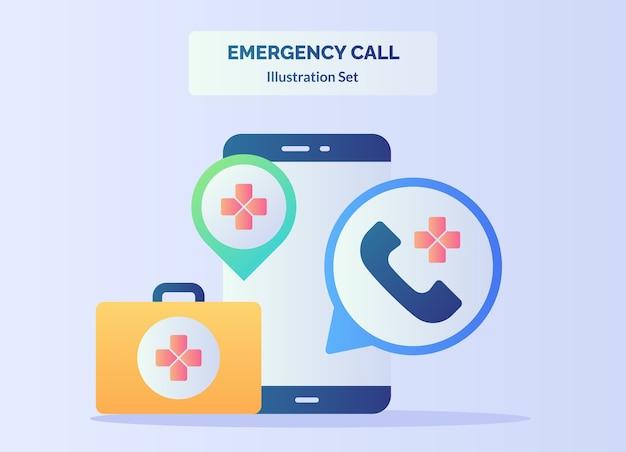 Смартфон фон красный крест вызов телефон чемодан