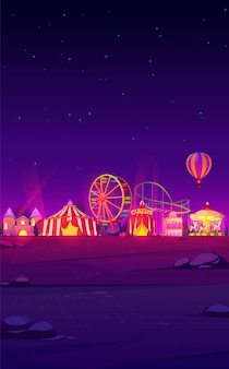 Smartphone background with night carnival funfair