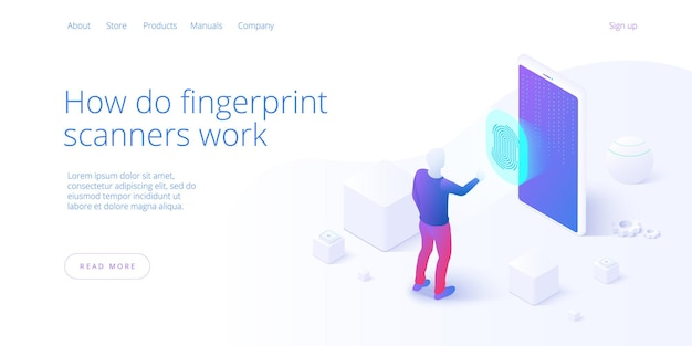 Смартфон биометрический контроль доступа в изометрии. концепция системы безопасности скрининга отпечатков пальцев.