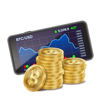 Smartphone and bitcoin coins