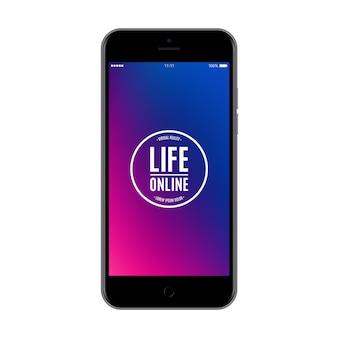 白い背景で隔離の色のスクリーンセーバーとスマートフォンの黒い色。リアルで詳細な携帯電話のモックアップ