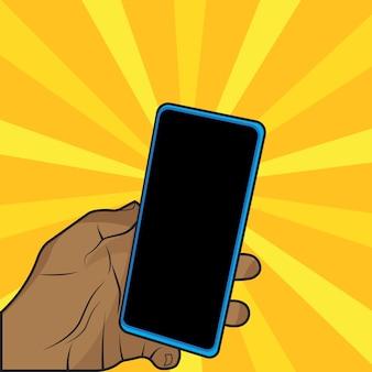 Смартфон пустой экран макет мобильного телефона изолирован на фоне стрелы с рукой