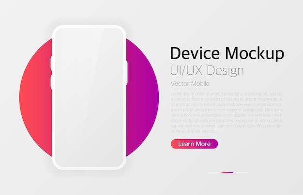スマートフォンの空白の画面。モダンなデザイン。デバイスのモックアップ。 uiおよびuxデザインインターフェイス。ベクトルデバイス。 loremipsum。インフォグラフィックモックアップのテンプレート。ベクトルイラスト。