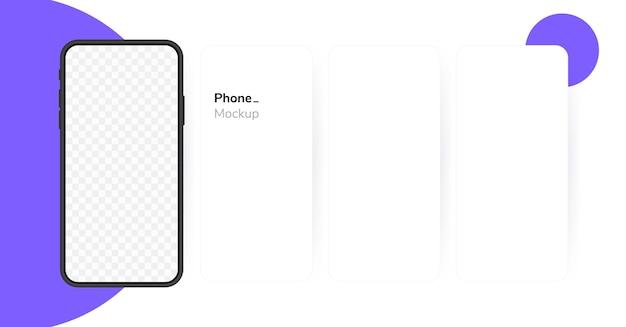 Пустой экран смартфона, телефон. экран телефона карусели. шаблон для инфографики или интерфейса пользовательского интерфейса презентации.