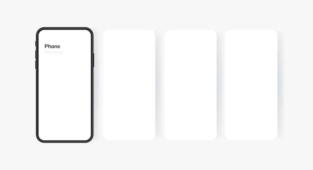 Пустой экран смартфона, телефон. экран телефона в стиле карусели. шаблон
