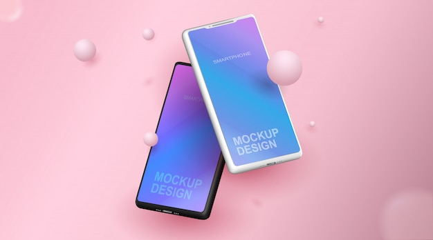 Smartphone blank screen, phone mockup, template for infographics or presentation design interface