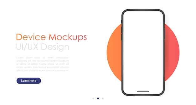 Smartphone blank screen, phone mockup.