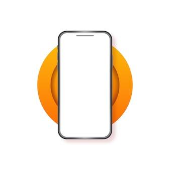 スマートフォンの空白の画面の電話のモックアップ