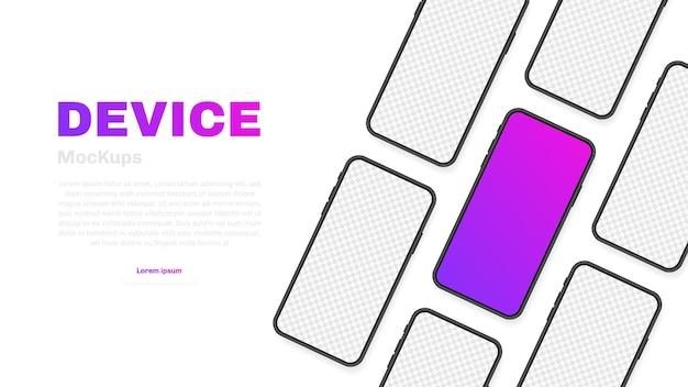 スマートフォンの空白の画面、電話。新しい電話モデル。プレゼンテーションuiインターフェイスのインフォグラフィック用のテンプレート。図。
