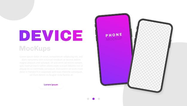 Пустой экран смартфона, телефон. новая модель телефона. шаблон для инфографики для пользовательского интерфейса презентации. иллюстрация.