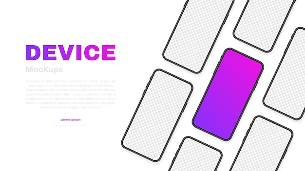 Smartphone blank screen, phone . new phone model. template for infographics for presentation ui  interface.  illustration. Premium Vector