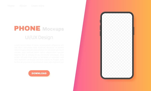 Smartphone blank screen, phone . template for infographics, presentation or mobile app. ui interface . modern  illustration.