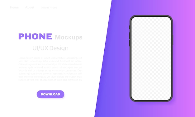 Smartphone blank screen, phone . template for infographics, presentation or mobile app. ui interface . modern  illustration. Premium Vector