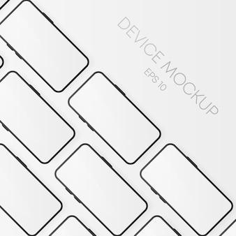 スマートフォンの空白の画面、白い電話のモックアップ。プレゼンテーションuiデザインインターフェイスのインフォグラフィックのテンプレート。リアルなオブジェクト。ベクトルイラスト。