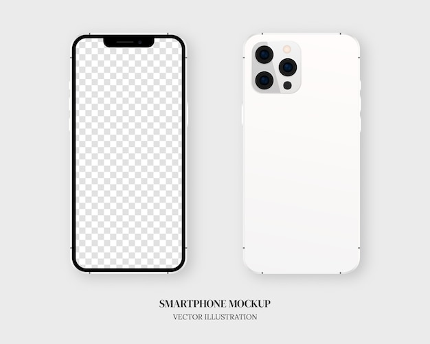 Smartphone. blank smartphone in front and back isolated on grey background.