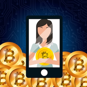 Smartphone business woman bitcoin currency digital