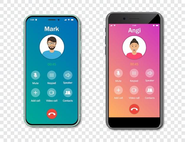 투명 한 배경에서 스마트 폰 전화 응용 프로그램 인터페이스 템플릿. 들어오는 호출 개념. 삽화
