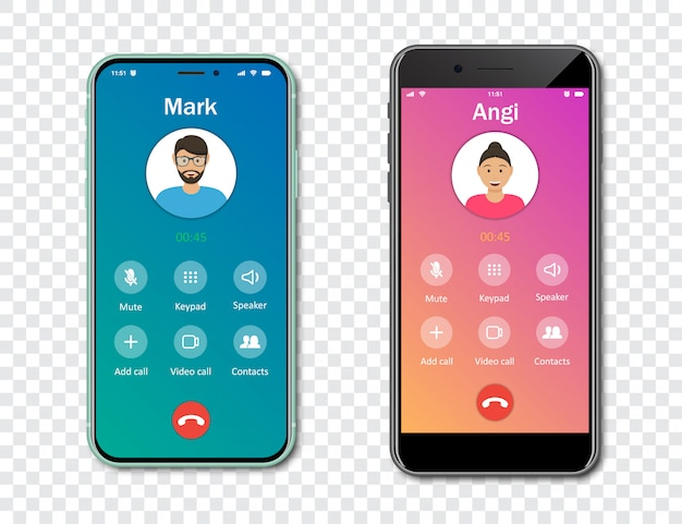 Smartphone call app interface template on a transparent background. incoming call concept.   illustration