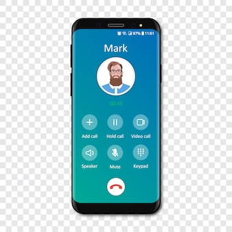 Smartphone call app interface template on a transparent . incoming call .