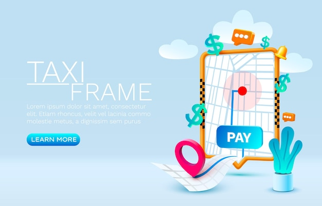 テキストオンラインアプリケーションタクシーサービスベクトルのスマートフォン通話タクシーバナーコンセプトの場所