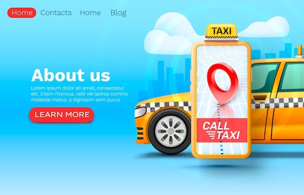 텍스트, 온라인 응용 프로그램, 택시 서비스를위한 스마트 폰 콜 택시 배너 장소.
