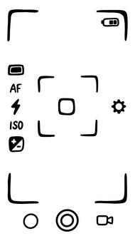 スマートフォンのカメラのファインダー。