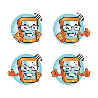 Smartphone cartoon character set