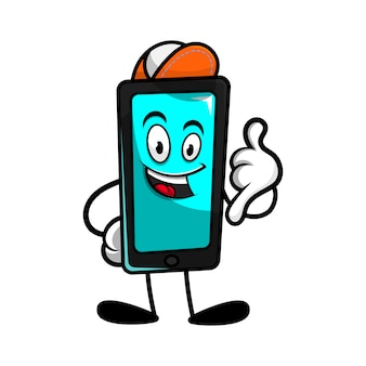 Smartphone cartoon character with calling gesture get ready for repair or maintenance your gadget cartoon vector