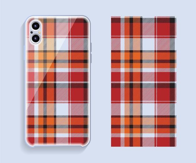 スマートフォンケースのデザイン。携帯電話の背面部分の幾何学模様。フラットなデザイン。