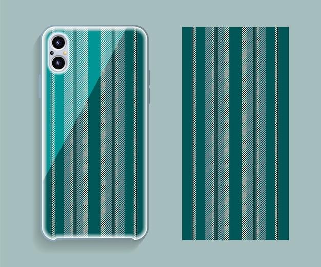スマートフォンケースのデザイン。携帯電話の裏側の幾何学模様