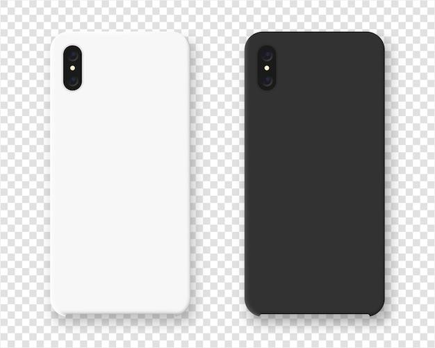 スマートフォンケース。透明な背景にスマートフォンの現実的なケース。図。