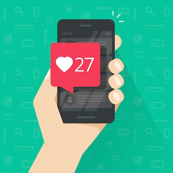 Smartphone or cellphone with likes counter bubble vector illustration flat cartoon