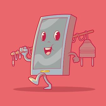 Смартфон персонаж ходьба векторные иллюстрации аккумуляторные технологии электричество забавная концепция дизайна